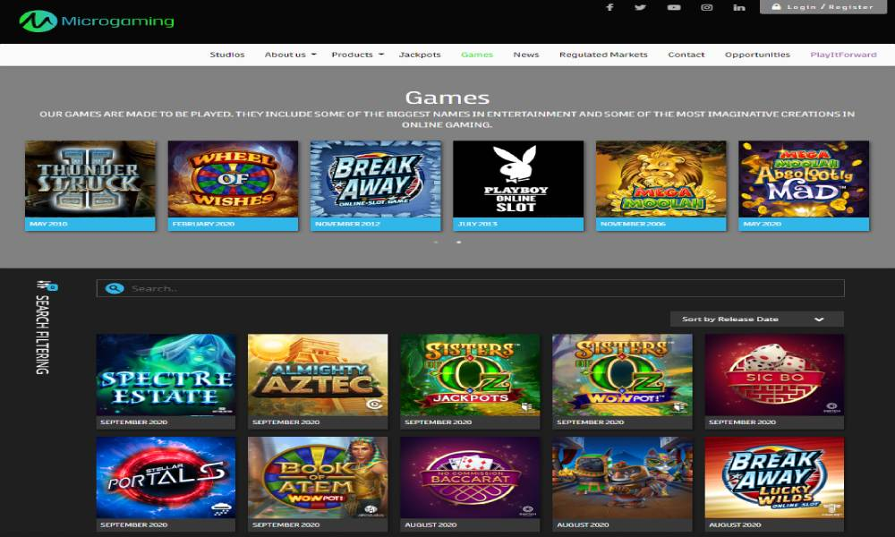 Microgaming online slot provider